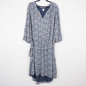 Caslon Dress Three Quarter Sleeve Blue White 22W